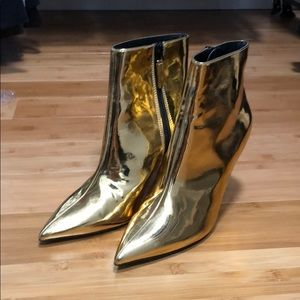 Gold boots Topshop size 7